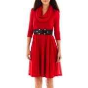Robbie Bee® Infinity Scarf Belted Sweater Dress - Petite