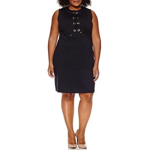 Sharagano Sleeveless Laceup Sheath Dress-Plus