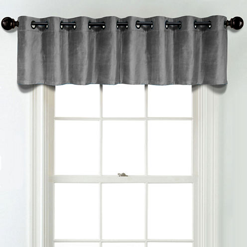 JCPenney Home Velvet Grommet Poly-Cotton Lined Tailored Valance