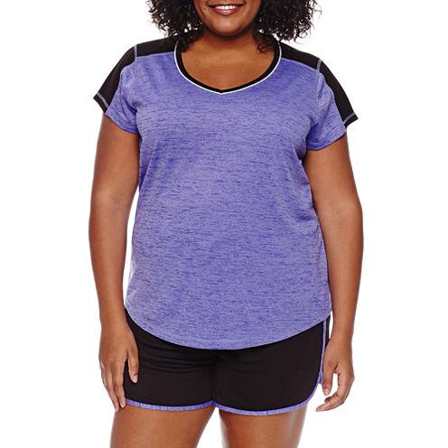 Made For Life Short Sleeve V Neck T-Shirt-Womens Plus