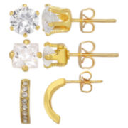 Cubic Zirconia Set of 3 Boxed Earrings 18K Gold Plated