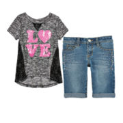 Total Girl® Sequin Tee or Bermuda Shorts – Girls 7-16 and Plus