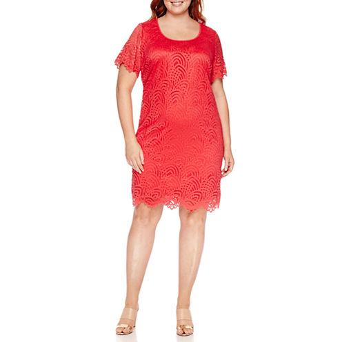 Ronni Nicole Short Sleeve Lace Sheath Dress-Plus