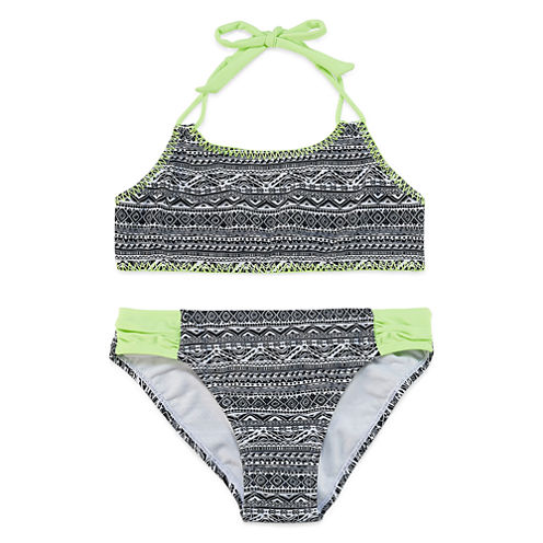 Breaking Waves Girls Tribal Stitch Bikini Set - Big Kid