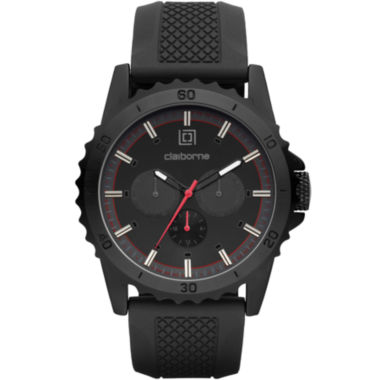jcpenney.com | Claiborne® Mens Black Dial Black Silicone Strap Watch