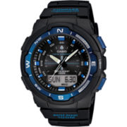 Casio® Mens Twin Sensor Black & Blue Watch
