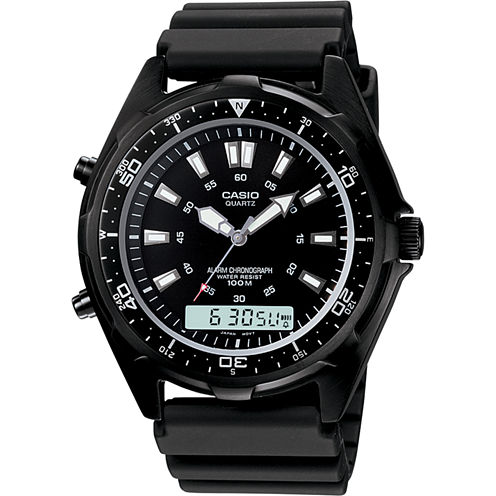 Casio® Mens Black Dive Watch AMW320B-1A