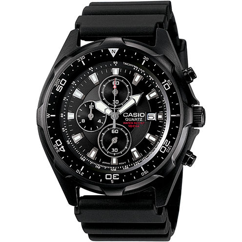Casio® Mens Black Chronograph Dive Watch AMW330B-1A
