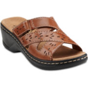 Clarks® Lexi Ash Leather Slide Sandals