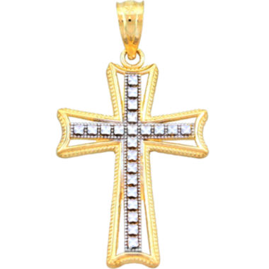 jcpenney.com | 14K Two-Tone Gold Textured Cross Charm