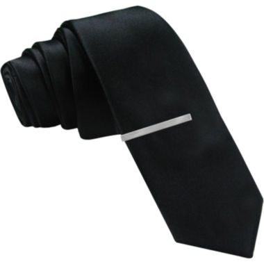 jcpenney.com | JF J. Ferrar® Solid Black Tie and Tie Bar Set - Skinny