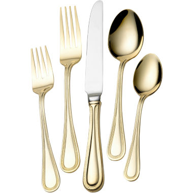 jcpenney.com | Wallace®  Gold-Plated Continental Bead 65-pc. 18/10 Stainless Steel Flatware Set