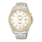 Seiko® Mens Silver-Tone Dial Two-Tone Stainless Steel Kinetic Watch SKA680
