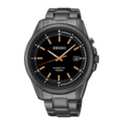 Seiko® Mens Black Dial Black Stainless Steel Kinetic Watch SKA681