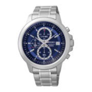 Seiko® Mens Blue Dial Stainless Steel Chronograph Sport Watch SKS443