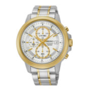 Seiko® Mens Silver-Tone Dial Two-Tone Stainless Steel Sport Watch SKS456