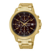 Seiko® Mens Brown Dial Gold-Tone Stainless Steel Chronograph Sport Watch SKS468