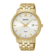 Seiko® Mens Silver-Tone Dial Gold-Tone Stainless Steel Watch SUR122