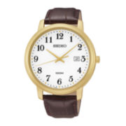 Seiko® Mens Brown Leather Strap Watch SUR114