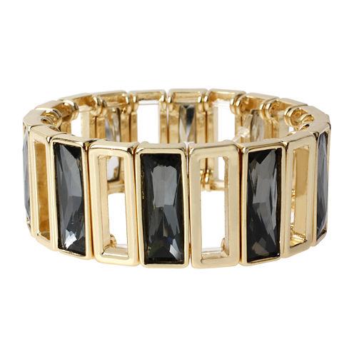 Worthington® Black Rectangle Stone Gold-Tone Wide Stretch Bracelet