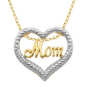 Diamond-Accent 18K Two-Tone Gold-Plated Brass Mom Heart Pendant Necklace