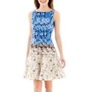 J. Taylor Sleeveless Floral Print Fit-and-Flare Dress
