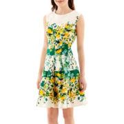 Danny & Nicole® Sleeveless Scuba Knit Fit-and-Flare Dress