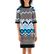 R&K Originals® Elbow-Sleeve Geo Print Shift Dress