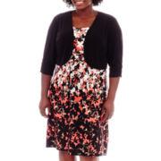Perceptions Elbow-Sleeve Floral Print Jacket Dress - Plus