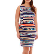 Alyx® Sleeveless Striped Floral Print Sheath Dress - Plus