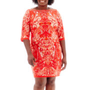 Sandra Darren 3/4-Sleeve Beaded-Neck Paisley Print Dress - Plus