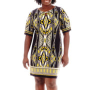 Sandra Darren Elbow-Sleeve Keyhole Print Dress - Plus
