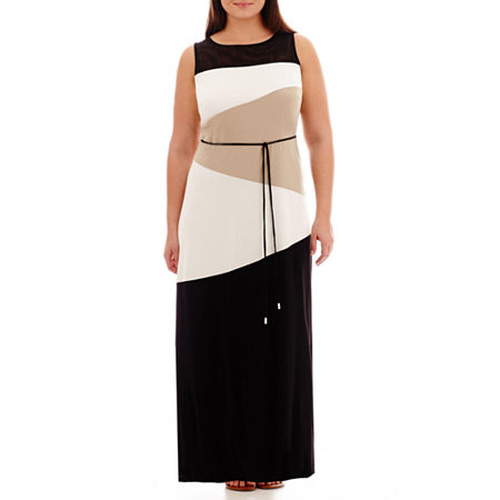 Sandra Darren Sleeveless Colorblock Maxi Dress - Plus