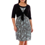 Perceptions 3/4-Sleeve Tie-Front Jacket Dress - Plus