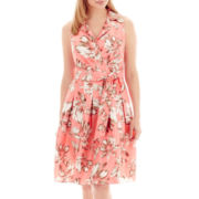 Jessica Howard Sleeveless Belted Shirtdress - Petite