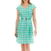 R&K Originals® Cap-Sleeve Belted Polka Dot Dress - Petite