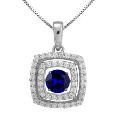 jcpenney.com | Love in Motion™ Lab-Created Blue and White Sapphire Cushion-Cut Pendant Necklace