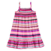 Okie Dokie® Sleeveless Smocked Dress – Girls 2t-5t
