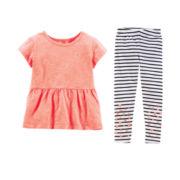 Carter's® Peplum Tee or Striped Leggings - Baby Girls 6m-24m