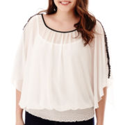 by&by Dolman-Sleeve Crochet-Inset Blouse - Plus
