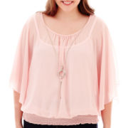 by&by Dolman-Sleeve Necklace Top - Plus