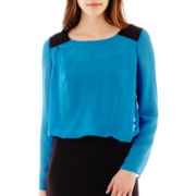 Bisou Bisou® Long-Sleeve Colorblock Bubble Top