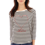 MNG by Mango® 3/4-Sleeve Striped Heart Tee