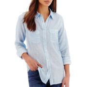 Levi's® Long-Sleeve Acid-Washed Boyfriend Shirt
