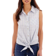 Levi's® Sleeveless Tie-Front Plaid Shirt