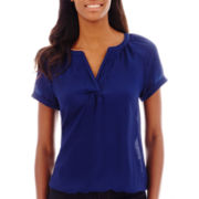St. John's Bay® Short-Sleeve V-Neck Peasant Top