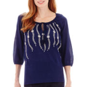 St. John's Bay® Vine Embroidered Peasant Top