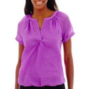 St. John's Bay® Short-Sleeve Pleated V-Neck Blouse