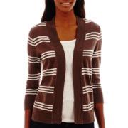 St. John's Bay® 3/4-Sleeve Striped Flyaway Cardigan Sweater