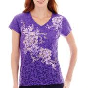 St. John's Bay® Embellished Floral Graphic T-Shirt